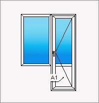 Каталог товаров - небольшой балконный блок с дверью и глухой.
